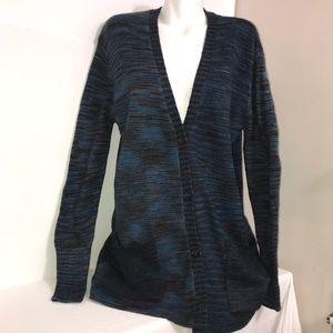 Joe Fresh Blue Marled Comfy Stretch Knit Cardigan